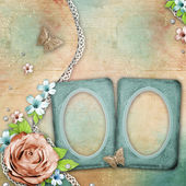 Vintage textured background with a bouquet of flowers, frames — Stock Photo