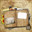Antique background with the old map, open book and a clock — Foto de Stock