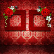 Red frames with roses over vintage wallpaper - Stock Photo