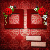 Red frames with roses over vintage wallpaper — Stock Photo