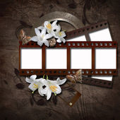 Vintage background with photo-frame and film strip — Stock Photo