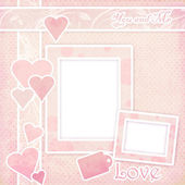 Pink frame with hearts — Stock Photo