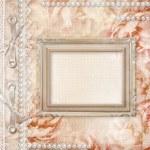 Grunge schöne Rosen-Album-Cover mit Rahmen, Perlen und Spitze — Stockfoto