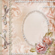 Stock Photo: Grunge Beautiful Roses Album Cover With Frame, Pearls and Lace