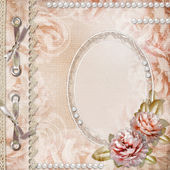 Grunge Beautiful Roses Album Cover With Frame, Pearls and Lace — Stock Photo
