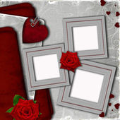 Card for invitation with hearts and roses — Stock Photo