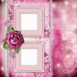 Album page - romantic background with frames, rose, lace, pearl, — Foto Stock