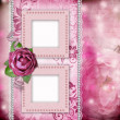Album page - romantic background with frames, rose, lace, pearl, — Stock Photo