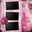 Album page - romantic background with frames, rose, lace, pearl, — Stockfoto
