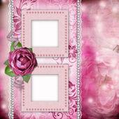 Pagina dell'album - sfondo romantico con pizzo cornici, rosa, perla, — Foto Stock