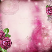 Album page - romantic background with rose, ribbon — Stock Photo