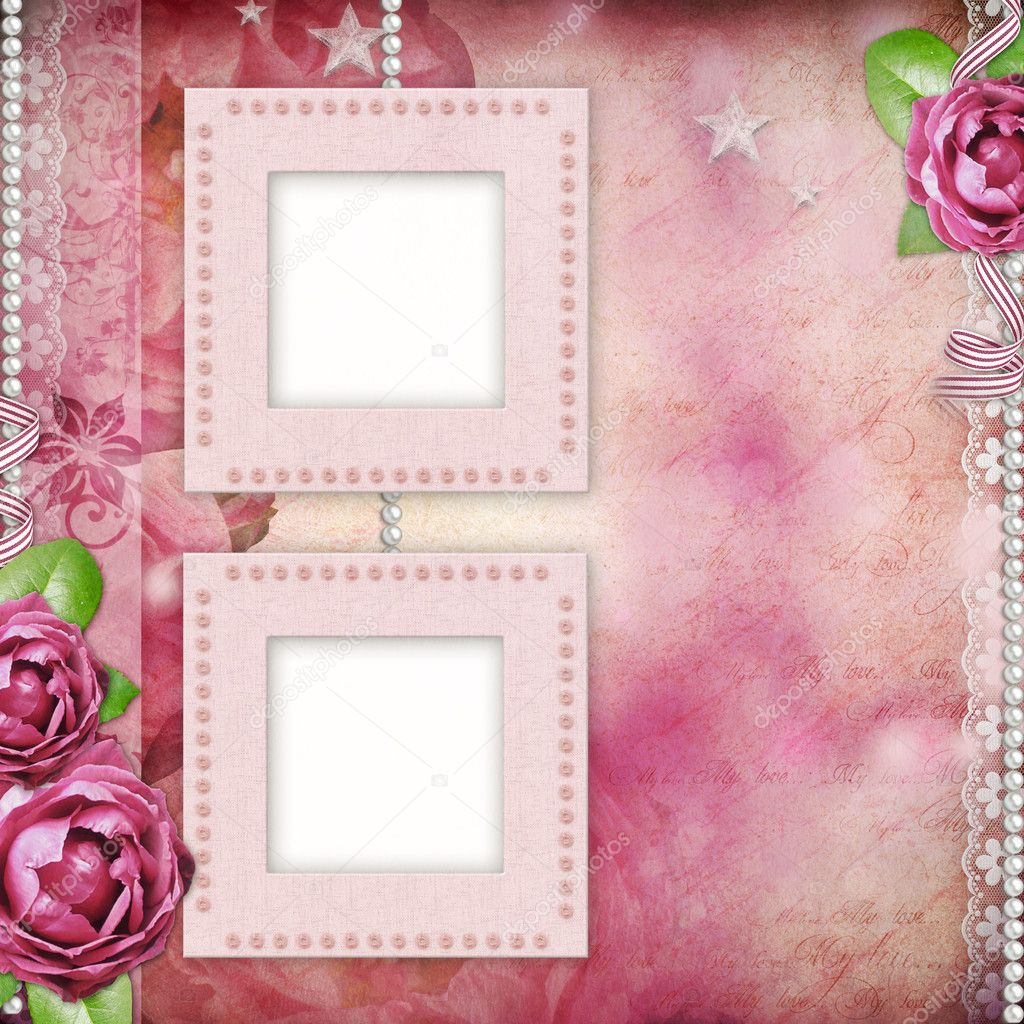 ... - romantic background with frames, rose, lace, pearl, - Stock Image