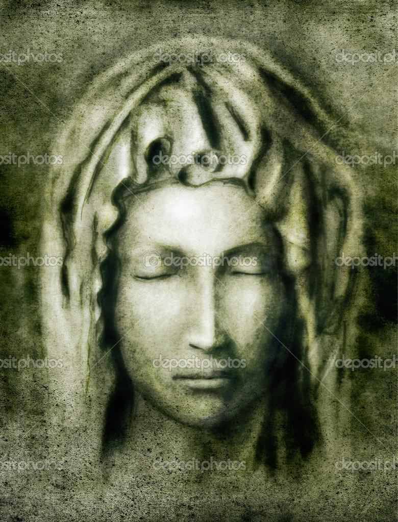 Virgin Mary - portrait illustration, stylized copy of Pieta by Michelangelo — Stock Photo #11924978