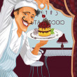 Chef with dessert — Vector de stock #10841341