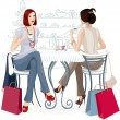 Stock Vector: Two girls at a cafe