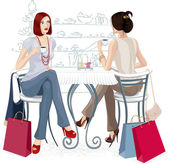 Two girls at a cafe — Stock Vector