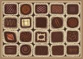 Chocolate assortment — Stock Vector