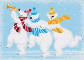 Tres osos polares — Vector de stock