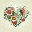 Abstract floral heart. Vector illustration — Stock Vector