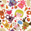 Stok Vektör: Abstract seamless toy pattern. Vector illustration