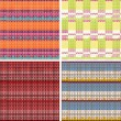 Set of four seamless knitted patterns — Stock Vector