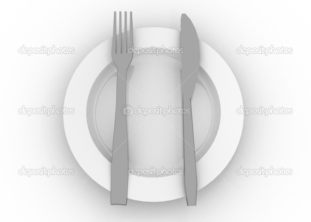 Dinner plate knife and fork — Stock Photo #12001703