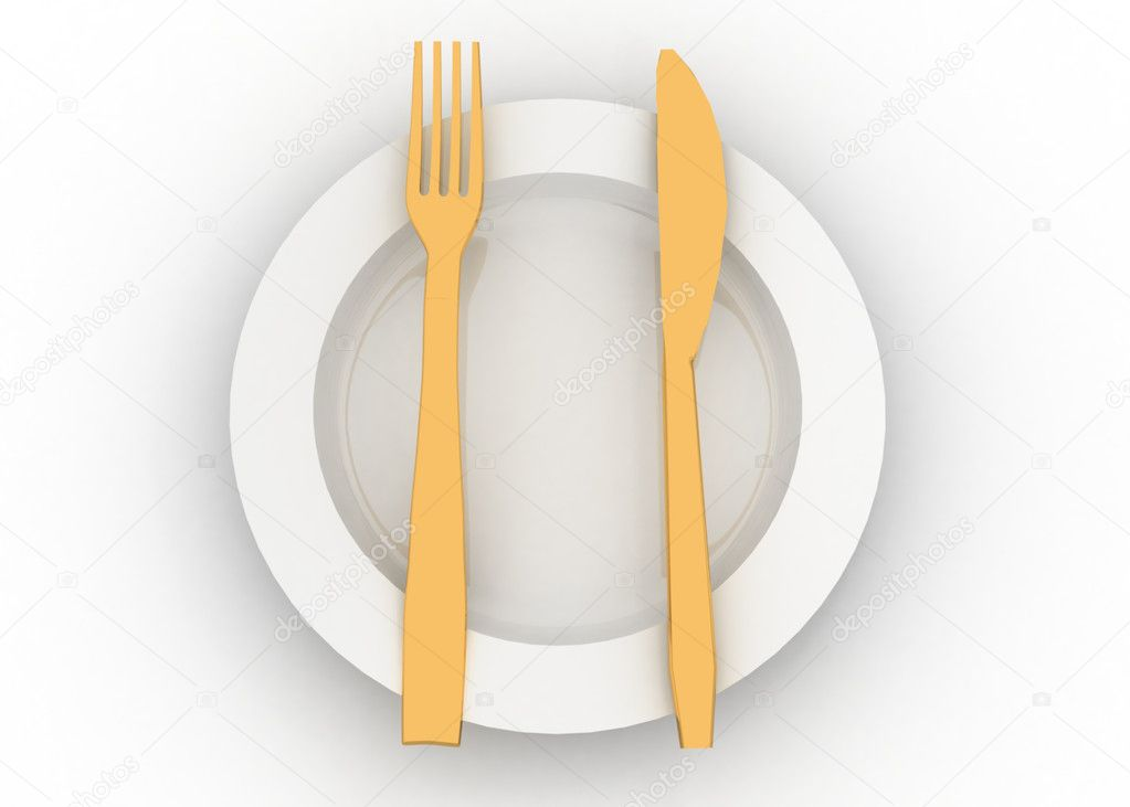 Dinner plate knife and fork — Stock Photo #12001704