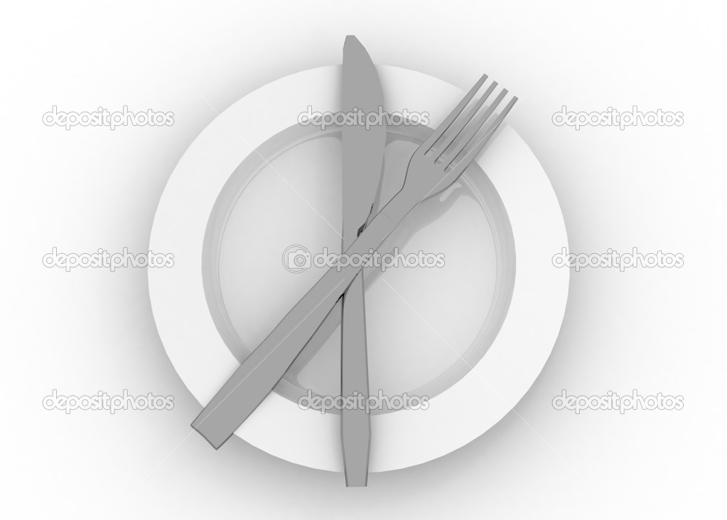 Dinner plate knife and fork — Stock Photo #12001706