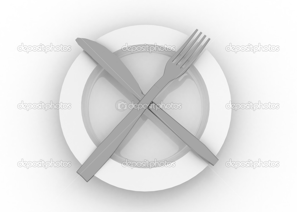 Dinner plate knife and fork — Stock Photo #12001710