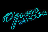 Open bar restaurant neon sign — Stock Photo