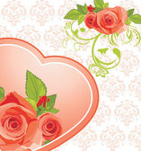 Heart with roses on the ornamental background — Stock Vector