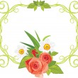 Ornamental frame with roses and daffodils — Stock Vector