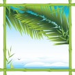 Bamboo frame with palm branches and landscape - Stock Vector