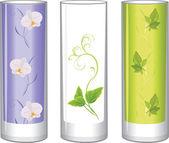 Three glass vases — Stock Vector