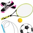 Sports objects isolated on the white - Stock Vector