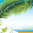 Diary and female hat under a palm branches on the background of landscape — Stock Vector