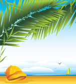 Cockleshell under a palm branches on the background of landscape — Stock Vector