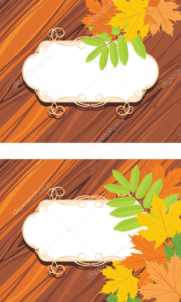 Decorative frames with maple leaves on the wooden background. Vector illustration  Stock Vector #11825218