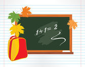 Blackboard and school backpack with maple leaves — Stock Vector