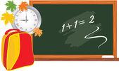 Blackboard and school backpack. Back to school — Stock Vector
