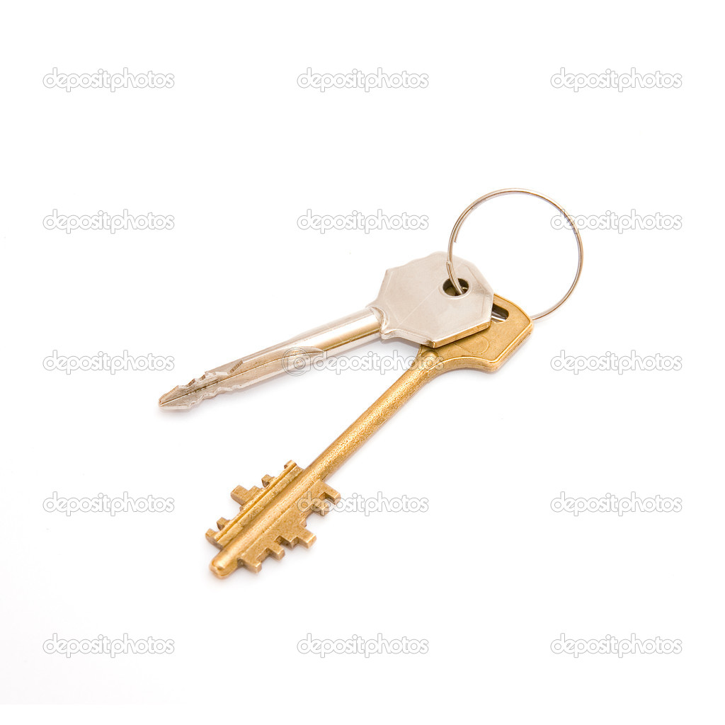 Pair of door keys isolated on white background — Stock Photo #11546846