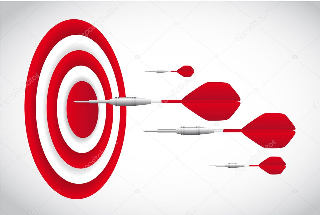 Red darts with dartboardd over gray background. vector — Stock Vector #10887034