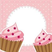 Pink cup cakes — Stock Vector