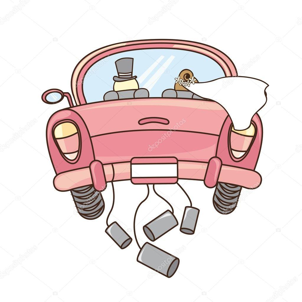 Just Married Car Illustration