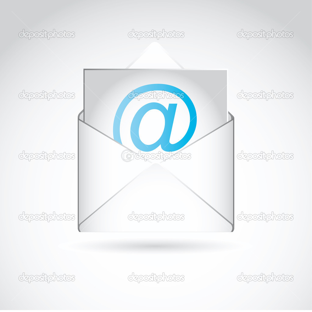 E mail icon with envelope and shadow. vector illustration — Stock Vector #11454632