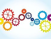 Colorful gears — Vector de stock