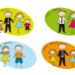 Stock Vector: Families drawing