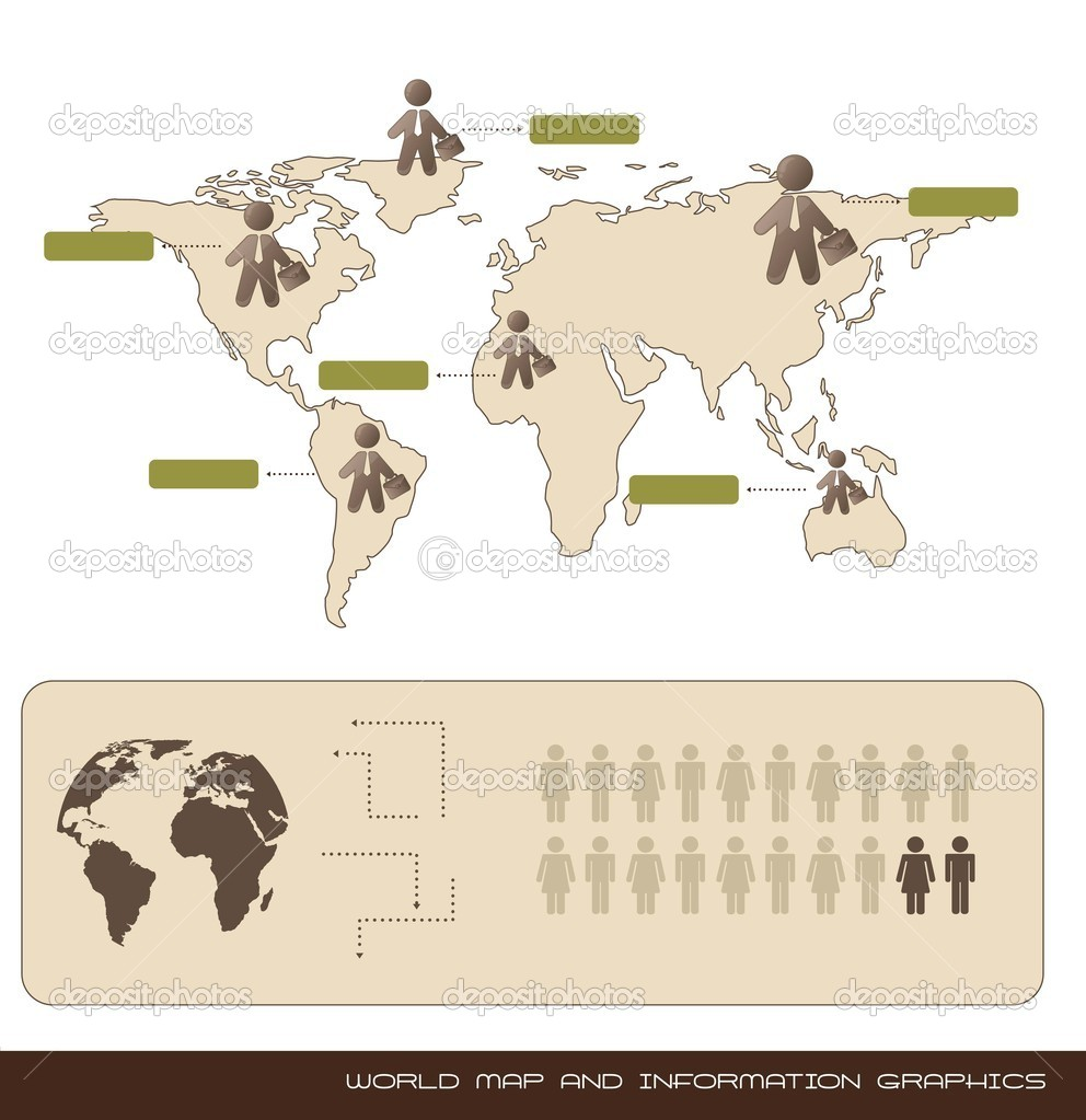 World map and information graphics, vintage. vector illustration — Stock Vector #11771229
