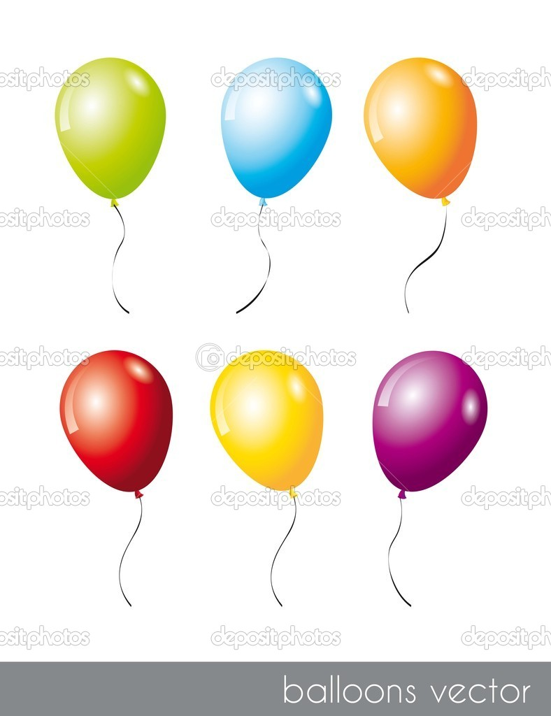 Six colorful balloons isolated over white background. vector illustration — Stock Vector #12210579