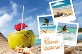 Cóctel de cocos, estrellas de mar y fotos — Foto de Stock